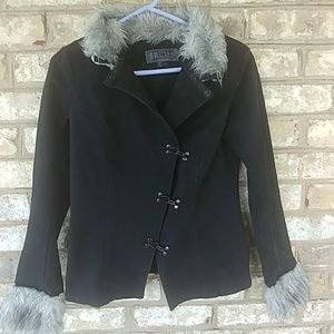 Tripp, Black Denim Jacket/Faux fur trim, Sz L
